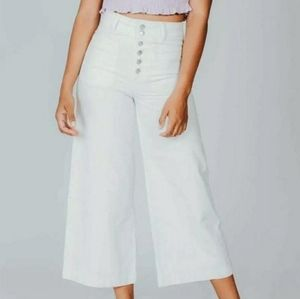 FREE PEOPLE WE THE FREE WHITE WIDE LEG CROP JEANS